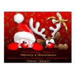 Navidad divertido Postcar del dibujo animado de Sa Tarjeta Postal