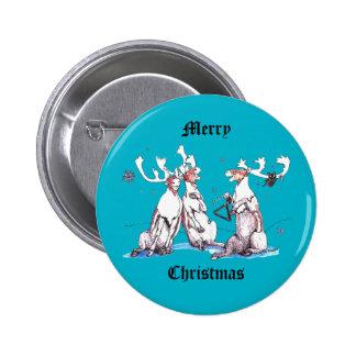 Navidad divertido que canta el azul de la fauna pin redondo de 2 pulgadas