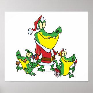 navidad divertido santa del cocodrilo y dibujo ani posters