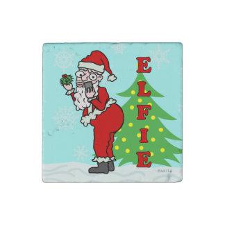 Navidad divertido Santa Elfie Imán De Piedra