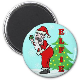 Navidad divertido Santa Elfie Imán Redondo 5 Cm