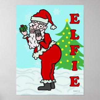 Navidad divertido Santa Elfie Póster