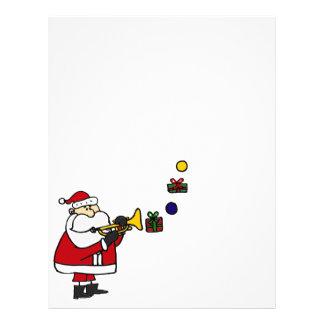 Navidad divertido Santa que toca la trompeta Membretes Personalizados