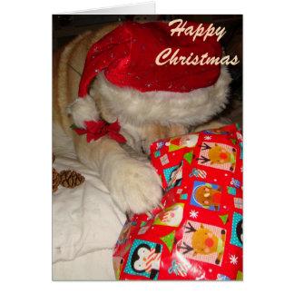 navidad dormido de Akita del perro de santa de los Tarjeta De Felicitación
