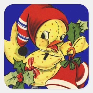 Navidad Ducky amarillo Calcomanía Cuadradas Personalizadas