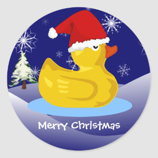 Navidad Ducky de goma Etiquetas Redondas