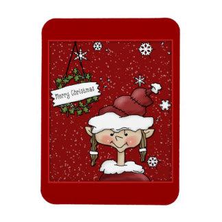 Navidad duende, guirnalda y copos de nieve iman flexible