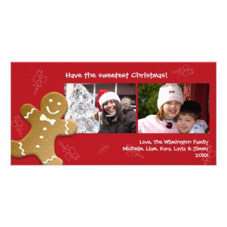 Navidad dulce de los bastones de caramelo del homb tarjeta fotográfica personalizada
