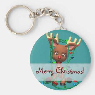 Navidad el reno sospechado rojo llavero redondo tipo pin
