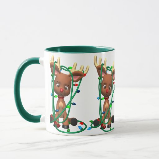 Navidad el reno sospechado rojo taza