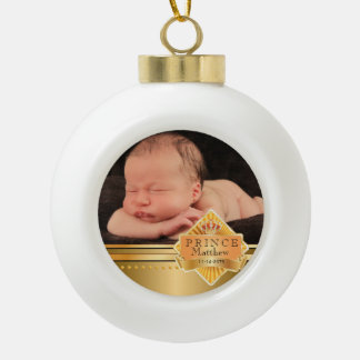 Navidad elegante de la foto del príncipe bebé adorno de cerámica en forma de bola