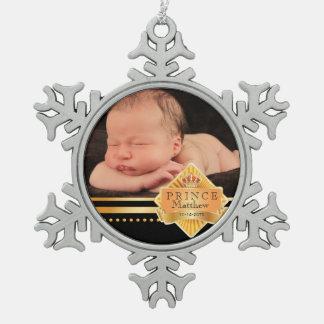 Navidad elegante de la foto del príncipe bebé adorno de peltre en forma de copo de nieve