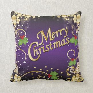 Navidad elegante de la púrpura y del oro cojín