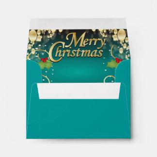 Navidad elegante de las azules turquesas y del oro sobres