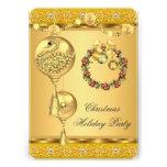 Navidad elegante del amarillo del oro de la celebr invitación