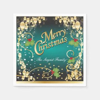 Navidad elegante del azul y del oro del trullo servilleta de papel