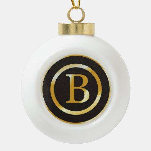 Navidad elegante del monograma B del oro Adorno De Cerámica En Forma De Bola