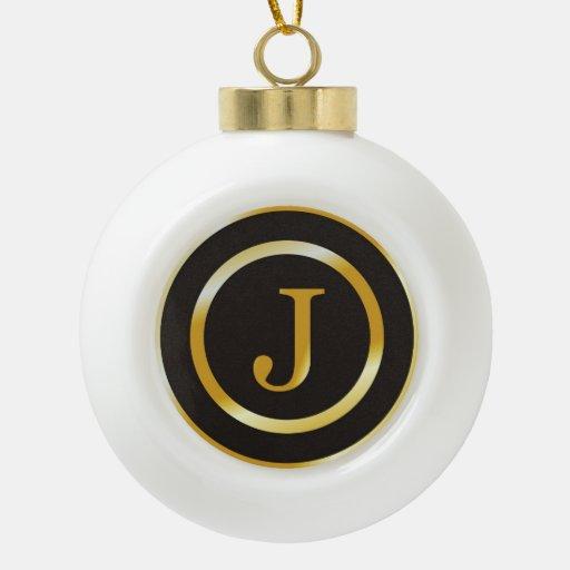 Navidad elegante del monograma J del oro Adorno