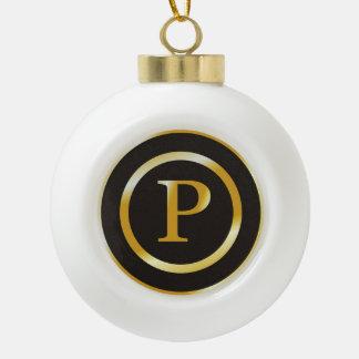 Navidad elegante del monograma P del oro