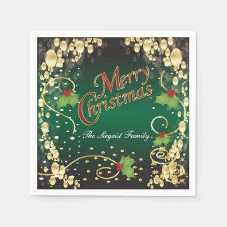 Navidad elegante del oro, rojo y verde servilletas de papel
