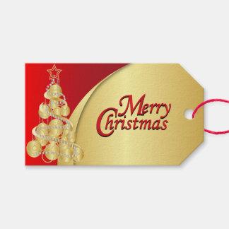 Navidad elegante del rojo y del oro etiquetas para regalos