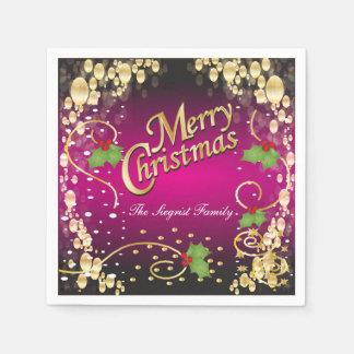 Navidad elegante del rosa y del oro de Fuschia Servilletas De Papel