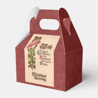Navidad elegante del vintage que saluda en rojo cajas para regalos