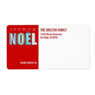 Navidad elegante enrrollado del rojo azul de Joyeu Etiquetas De Envío