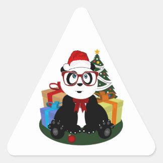 Navidad - empollón de la panda pegatina triangular
