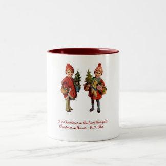 Navidad en el aire taza de dos tonos