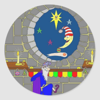 Navidad en el castillo pegatina redonda