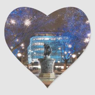 Navidad en el cuadrado de Sloane Calcomanía De Corazón