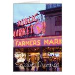 Navidad en el mercado de lugar de Pike Seattle Tarjeta De Felicitación