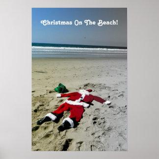 ¡Navidad en el poster de la playa! Póster
