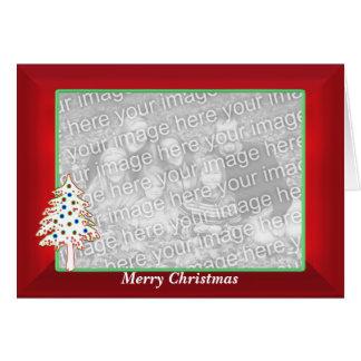 Navidad en el rojo (marco ancho de la foto) tarjetón