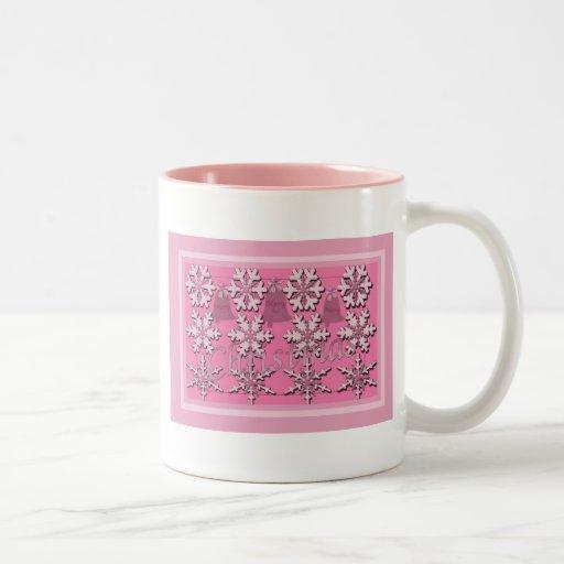 Navidad en el rosa tazas