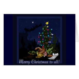 Navidad en el sudoeste encendido encima del cactus tarjeta de felicitación