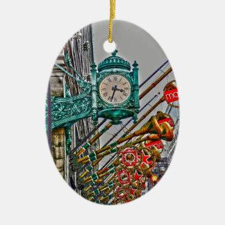 Navidad en estado adorno ovalado de cerámica