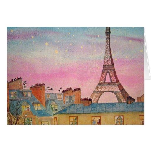 Navidad en la acuarela de París Tarjeta
