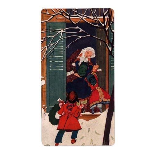 Navidad en la casa de la abuela etiquetas de envío
