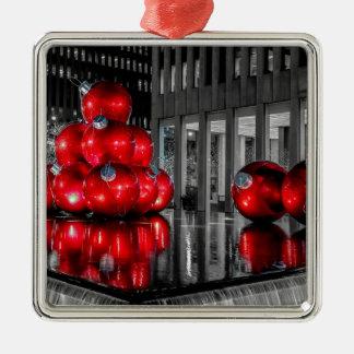 Navidad en la foto de New York City Adorno Cuadrado Plateado