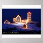 Navidad en la luz de la protuberancia pequeña póster