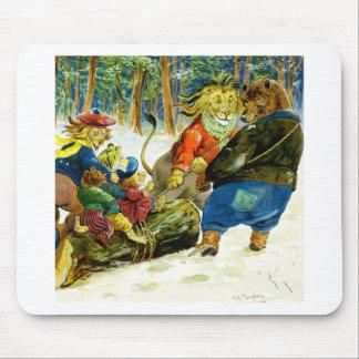 Navidad en la tierra animal - el registro de Yule Alfombrilla De Raton