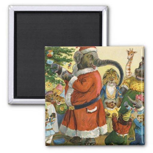 Navidad en la tierra animal imán de nevera