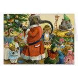 Navidad en la tierra animal tarjeta de felicitación