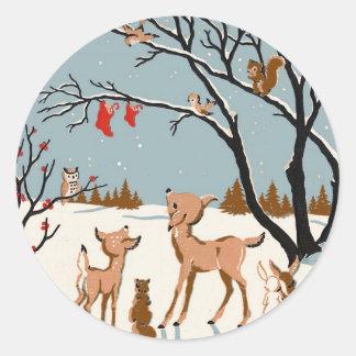 Navidad en las maderas pegatina redonda