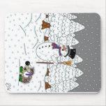 Navidad en madera mágica del árbol tapetes de ratones