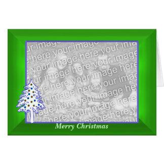 Navidad en marco (ancho) verde de la foto felicitación