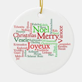 Navidad en muchas idiomas adorno navideño redondo de cerámica