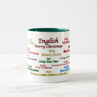 Navidad en muchas idiomas taza de dos tonos